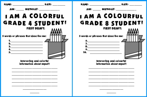 Grade 4 Back To School Creative Writing Ideas and Worksheets