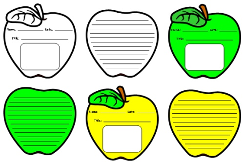 Apple Themed and Shaped Creative Writing Templates and Worksheets