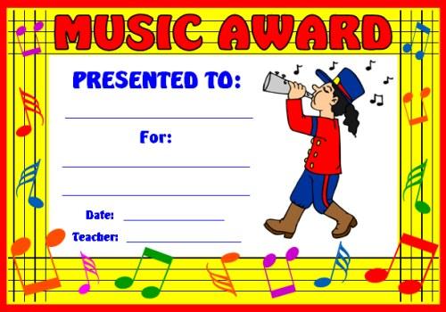 Marching Band Music Class Award Certificate