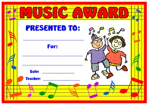 Elementary School Music Award Certificate for Students