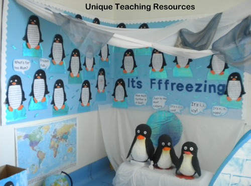 Penguin and winter bulletin board display example from Unique Teaching Resources.