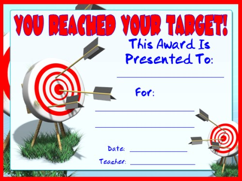 You Reached Your Target Achievement Award Certificate