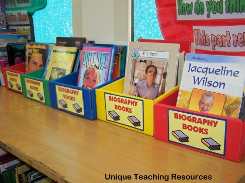 A colorful classroom library display of biography nonfiction books for students to read.