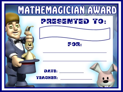 Free Math and Mathemagician Award Certificate For Students
