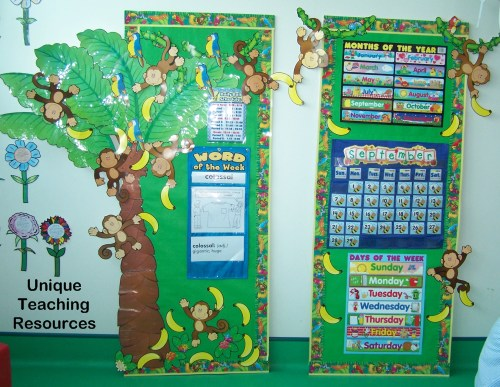 Classroom calendar and word of the day displays using pocket charts.
