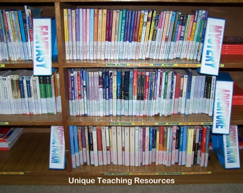 Heidi's classroom library divided into different genres of literature.