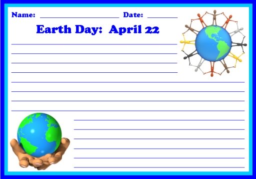 Earth Day April 22 Creative Writing Printable Worksheets and Templates