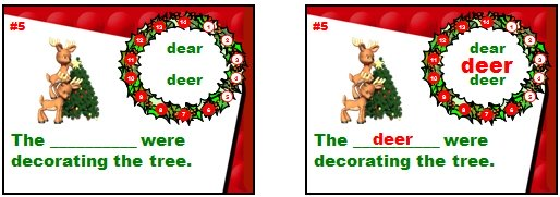 Christmas and Winter English Grammar Powerpoint Game for Reviewing Homophones