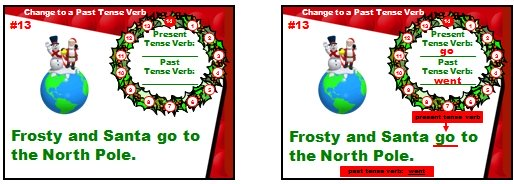 Christmas Powerpoint Lesson Plans Past and Present Verbs English Grammar Game