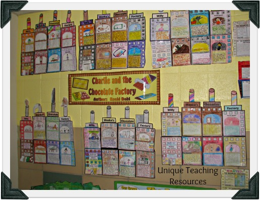 Classroom Bulletin Board Display Example of Charlie and the Chocolate Factory Projects