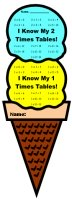 Math Multiplication Ice Cream Sticker Charts and Templates