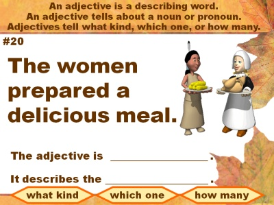 Adjectives and Grammar Powerpoint Presentation For Thanksgiving