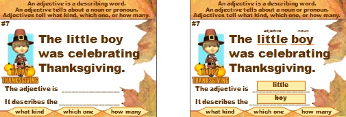 Adjectives Grammar Powerpoint Presentation and Lesson Plans for Thanksgiving