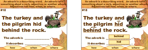 Adverbs and Grammar Thanksgiving Powerpoint Presentation and Lesson Plan Activities