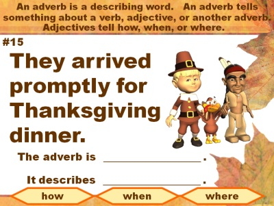 Adverbs and Grammar Thanksgiving Powerpoint Presentation Lesson Plans