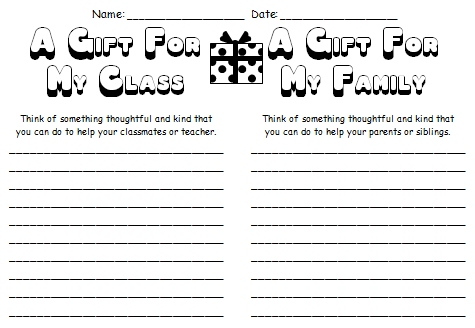 A Gift For My Class and Family Christmas Worksheets
