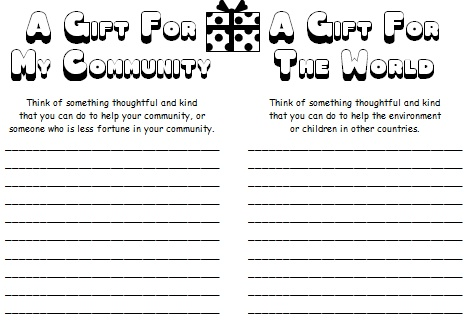 A Gift For My Community and The World Christmas Worksheets