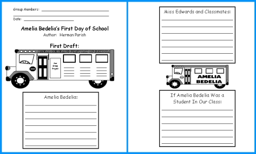 Amelia Bedelia's First Day of School First Draft Writing Worksheets