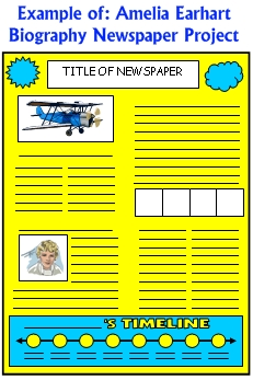 Amelia Earhard Biography Newspaper Project Templates