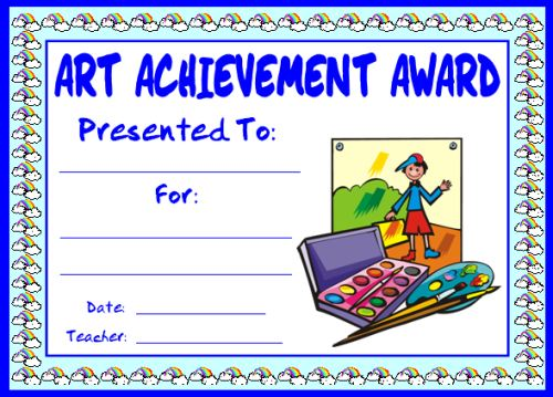 Art Achievement Award Certificate for Elementary School Students