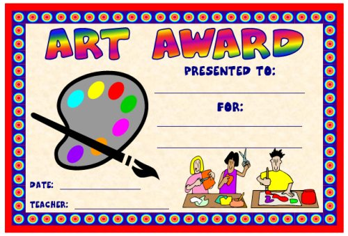 Art and music award certificates art award certificate for elementary school teachers yadclub