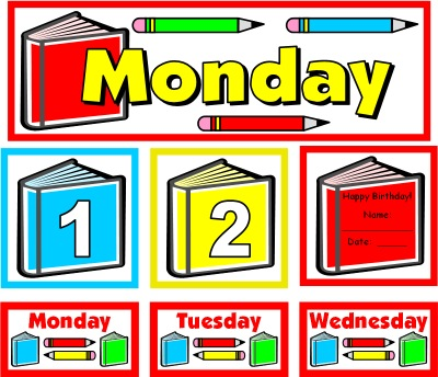 August Calendar Set for Pocket Charts Back to School