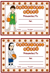 Basketball PE Awards and Certificates