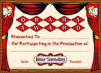 Drama Acting in Play Awards and Certificates