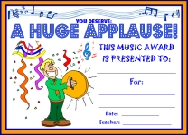 Music Huge Applause Awards and Certificates