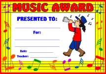 Music Marching Band Awards and Certificates