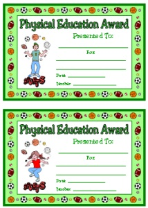 PE Physical Education Awards and Certificates