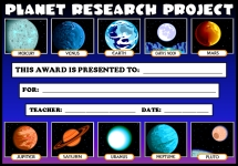 Planet Research Science Awards and Certificates