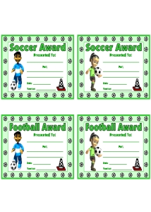 Soccer PE Awards and Certificates