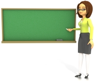 Back to School Teacher at Chalkboard