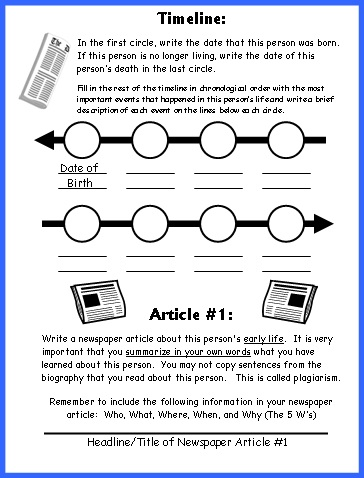 Biography Book Report Newspaper Writing Worksheets