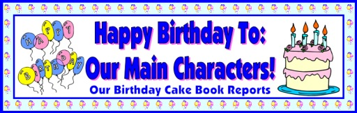 Happy Birthday Banner for Book Report Projects, Templates, and Worksheets