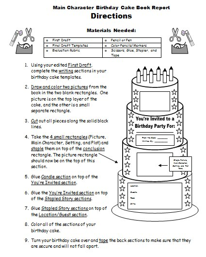 Birthday Cake Book Report Project Assembling Directions Printable Worksheet