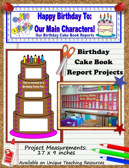 Engage your students in reading with these fun birthday cake book report project templates!