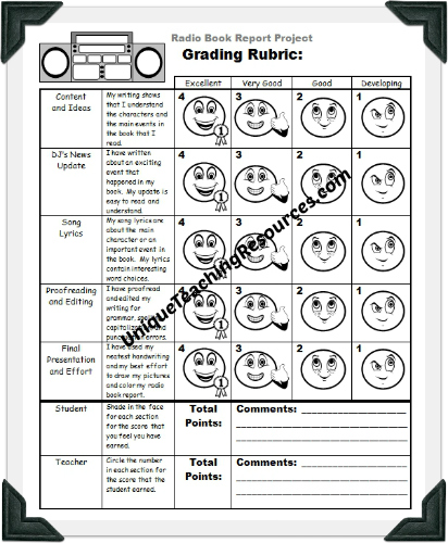 Radio Book Report Project Grading Rubric Printable Worksheet