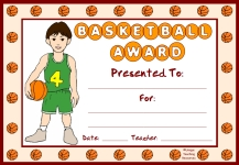 Basketball PE Award Certificate For Boy Students