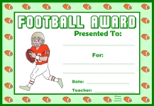 Football PE Award Certificate For Boy Students