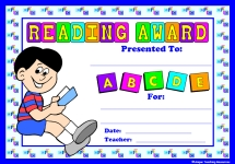 Boy Reading Award Certificate