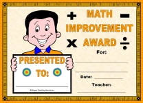 Math Improvement Award For Boy Elementary School Students
