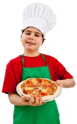 Boy Cooking Pizza