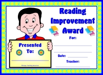 Reading Improvement Award For Boy Elementary School Students
