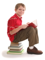 Elementary Boy Student Reading