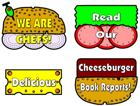 Cheese Burger Book Reports Projects:  Templates and Printable Worksheets