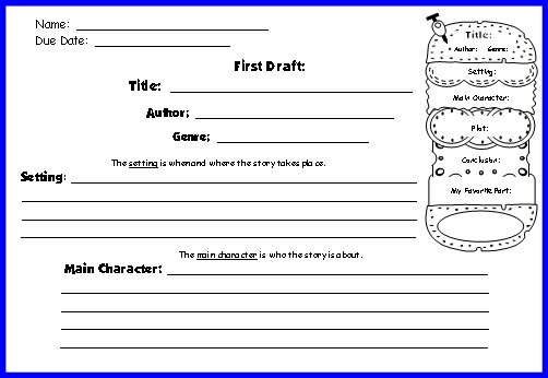 reading tree book report writing template