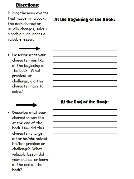 Worksheets Character Change Worksheet character body book report projects templates printable first draft worksheet 2