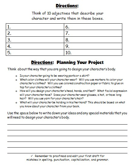 Characterization Worksheet 3: Character Body Book Report Projects  templates  printable    ,